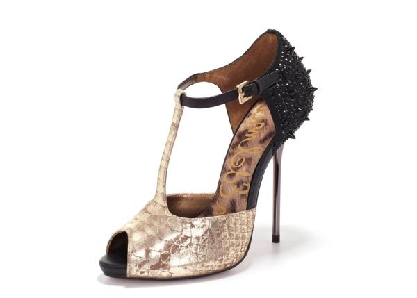 Ankle Strap Glitter Black Shoe Mid Heel