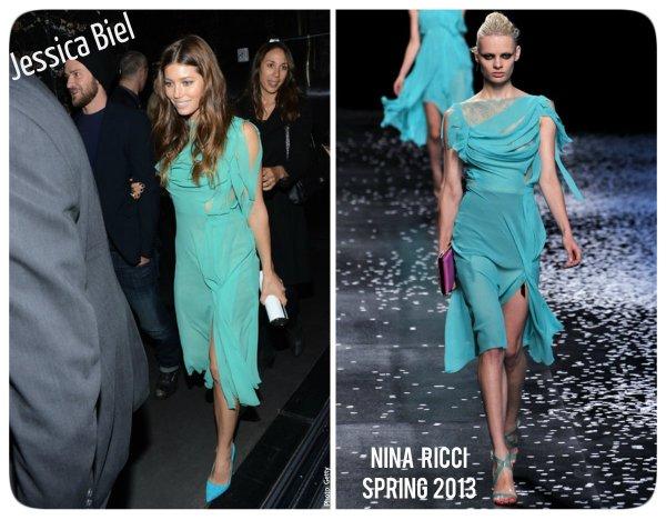 Jessica Biel in Nina Ricci Spring 2013 SP