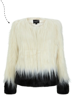 faux fur cream jacket spottedonaceleb
